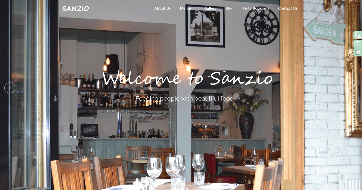 Sanzio Restaurant Website